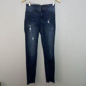 KanCan Frayed Hem Skinny Crop Distressed Jeans